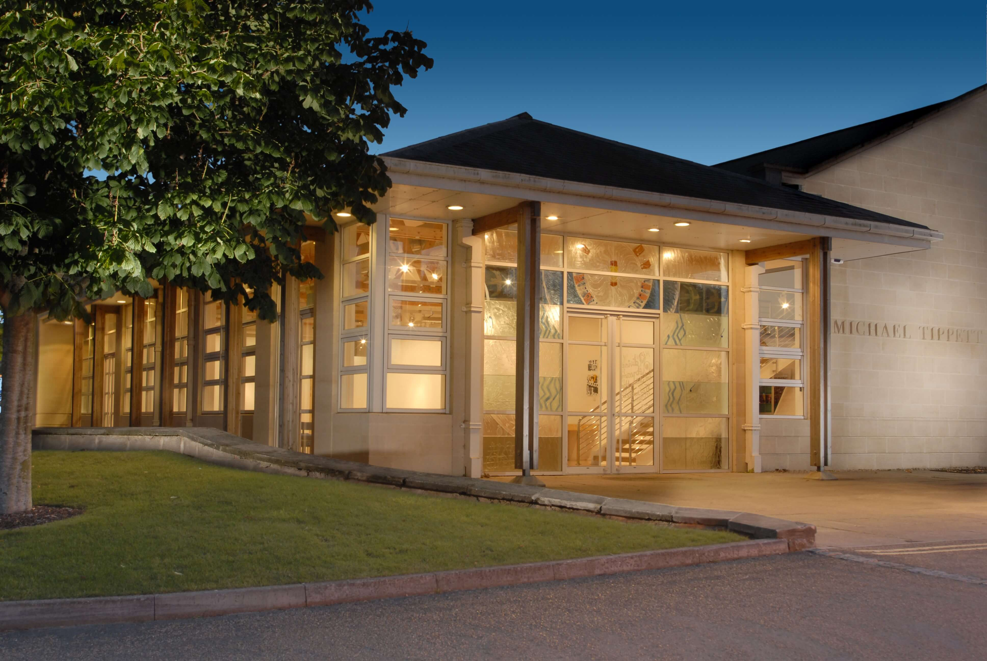 Exterior shot of the Michael Tippett Centre at night2