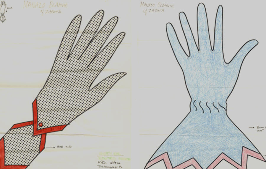 Two hand-drawn glove designs, the first featuring a polka-dot design and separate wrist cuff, the second plain, in a lighter colour and featuring a long cuff with zig-zag edging 2