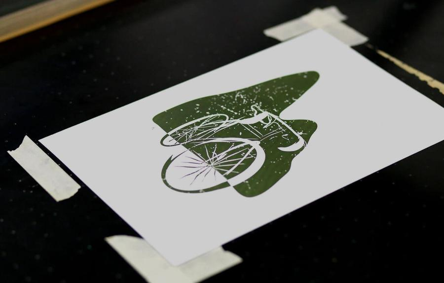 Litho print of bike in green ink2