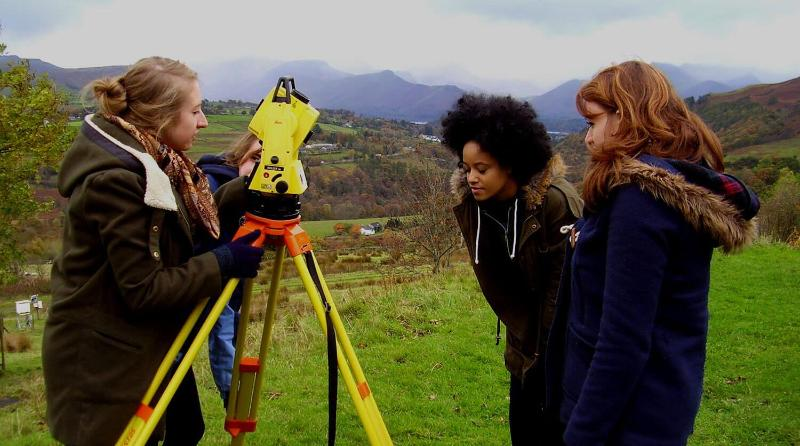 Students using Geography equipment in the Lake District2