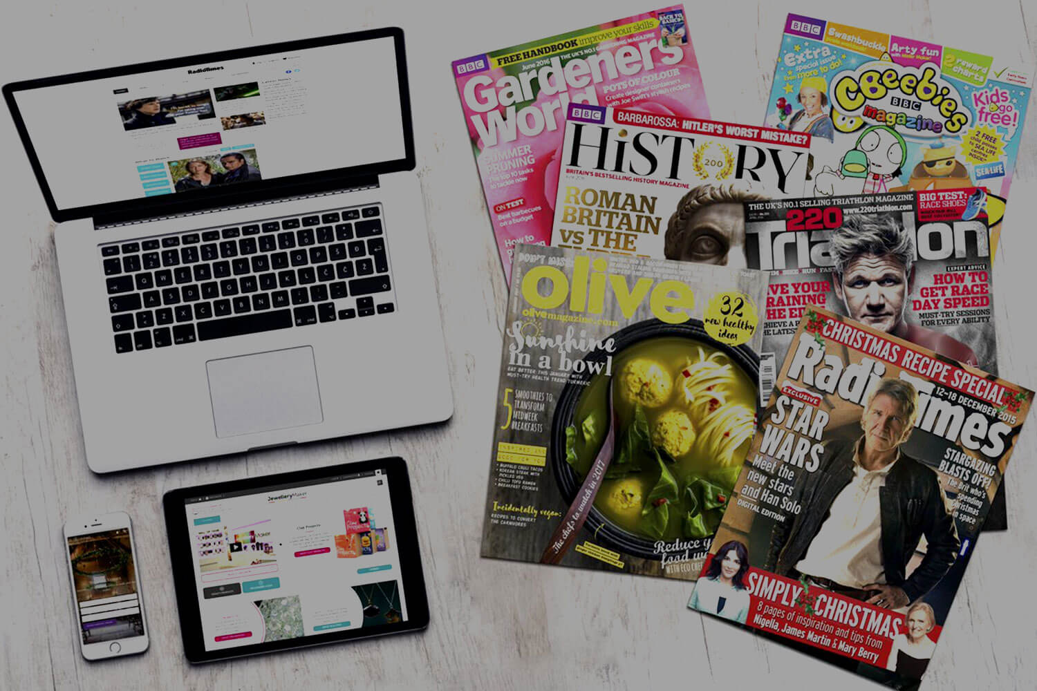 Laptop, smartphone and tablet alongside printed magazines2