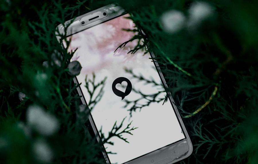 Mobile phone lying in heather, with a heart on the screen2