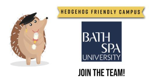 Hedgehog friendly campus team logo including an image of a hedgehog and the University logo