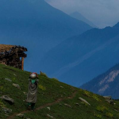 Woman carrying water on the side of a mountain in the Kashmir region next to a small wooden hut2