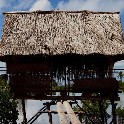 Wooden fishing hut over blue sea with tropical trees in the background2