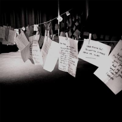 Handwritten letters pegged out on a string2