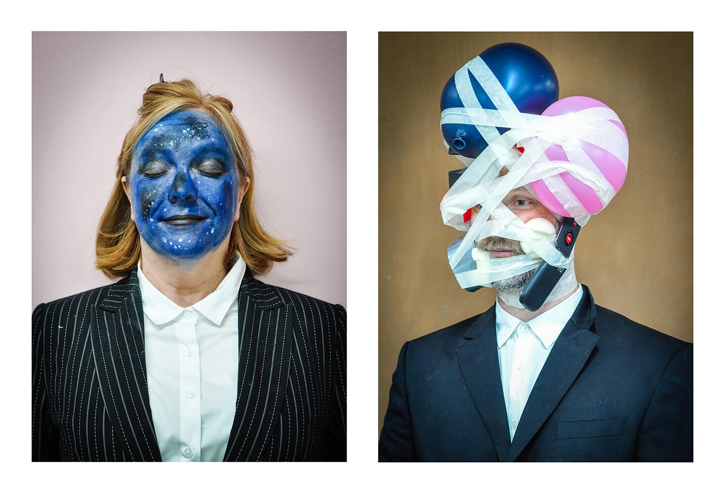 A woman with a blue painted face and a man with balloons taped to his face
